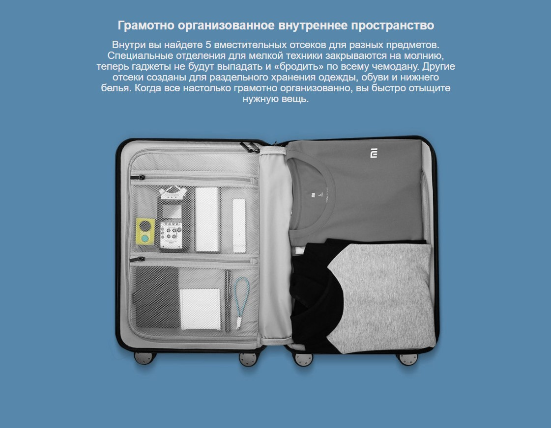 Чемодан Xiaomi Mi Trolley 90 Points 24 дюйма