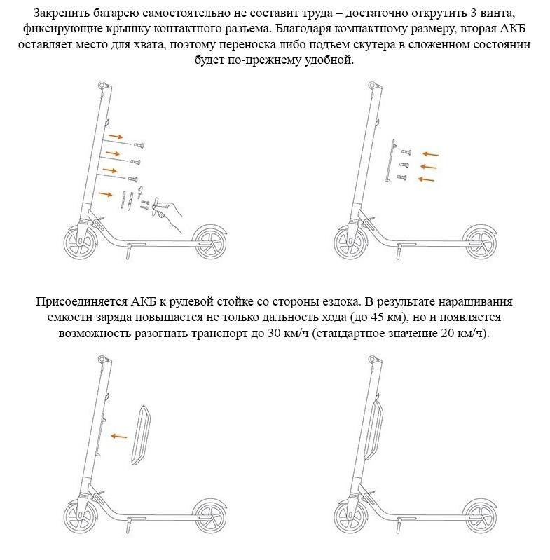 Дополнительный аккумулятор для электросамоката Ninebot by Segway KickScooter ES1, ES2