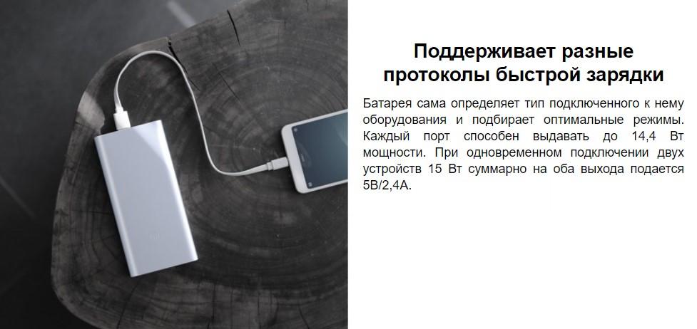 Портативное зарядное устройство Xiaomi Mi Power Bank 2i 10000 mAh 2 USB (PLM09ZM)