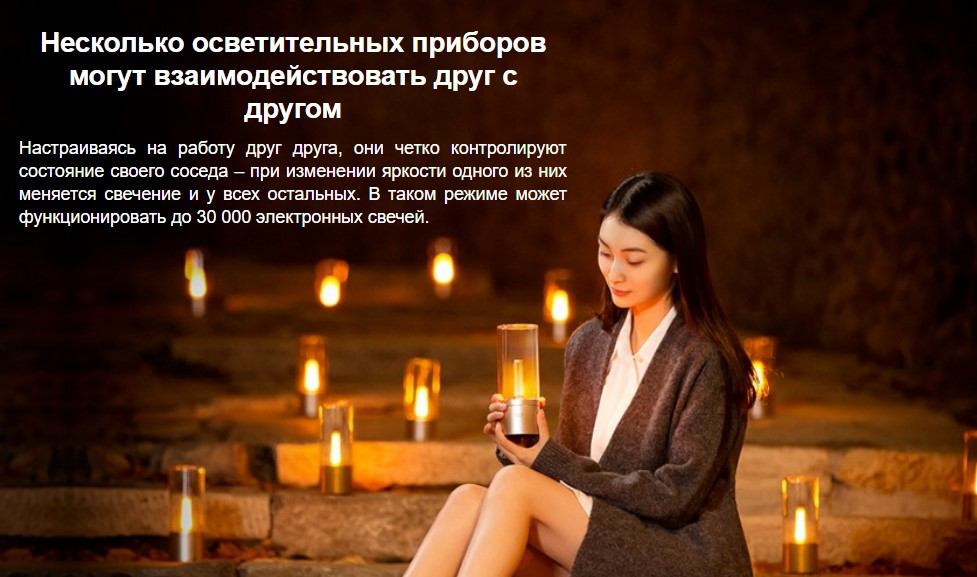 Умный ночник-свеча Xiaomi Yeelight Candela Ambiance Lamp Smart Atmosphere Light (YLFW01YL)