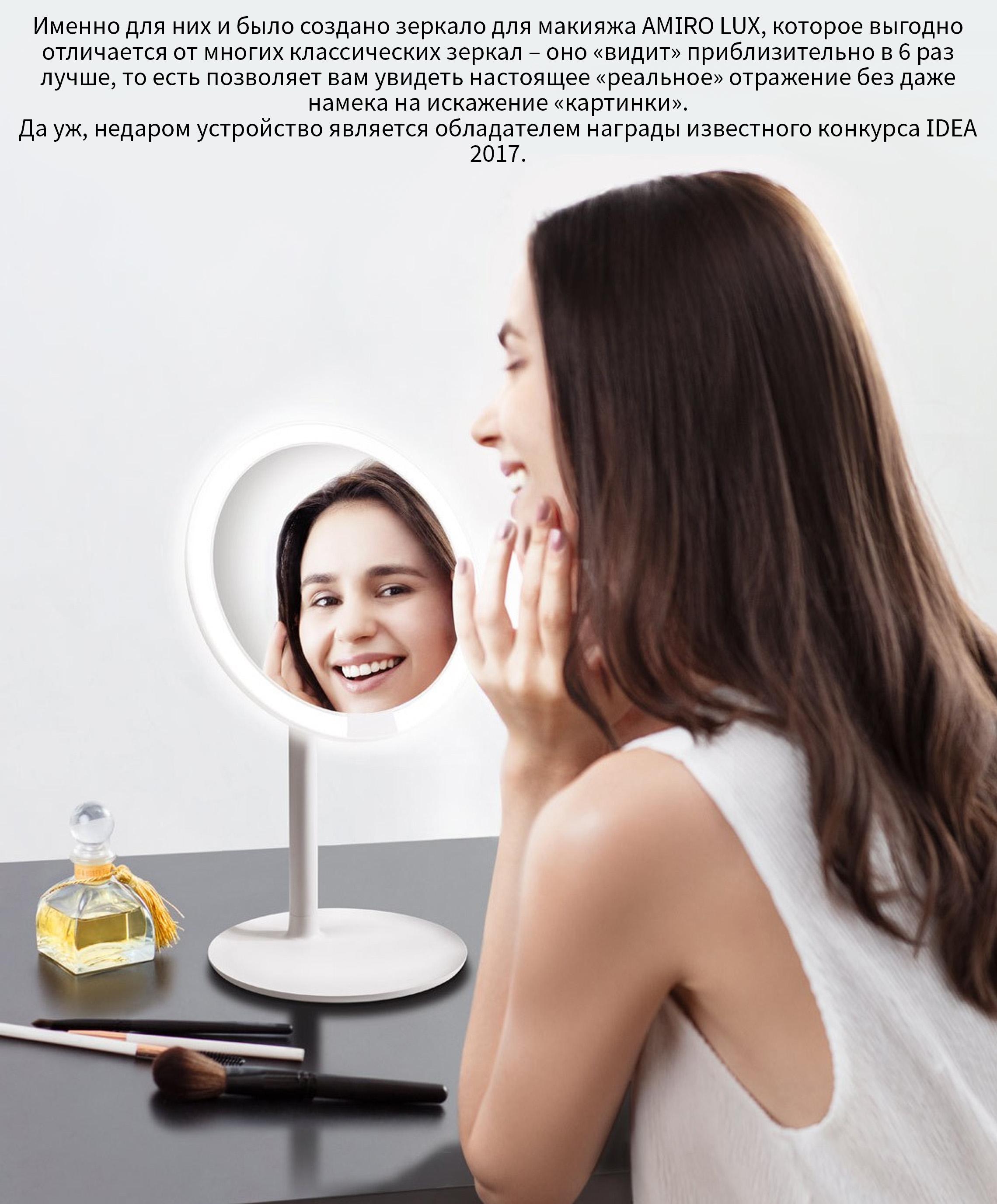 Зеркало для макияжа с подсветкой Xiaomi AMIRO LUX High Color HD Daylight (170 mm.) (AML004W)